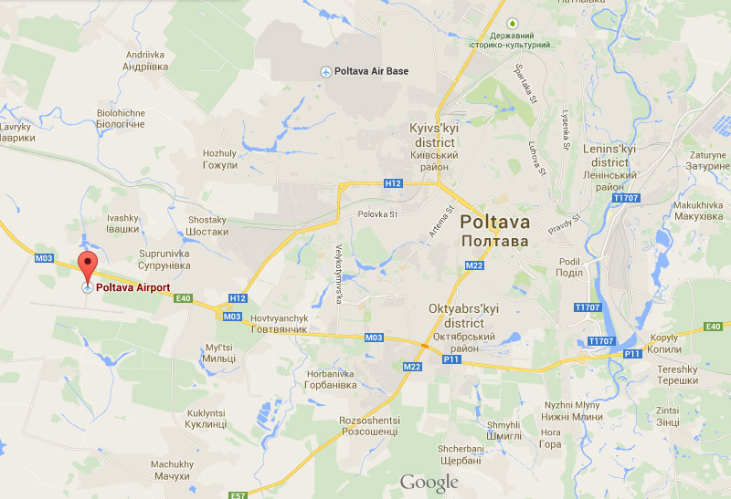 Poltava Airport on a map